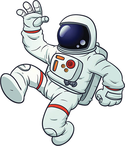 Cartoon astronaut Cartoon astronaut floating. Vector illustration with simple gradients. All in a single layer. astronaut floating in space stock illustrations