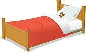 """Vector illustration of a cartoon wooden children bed with pillow, red blanket and teddy bear inside. Vector eps and high resolution jpeg files included"""