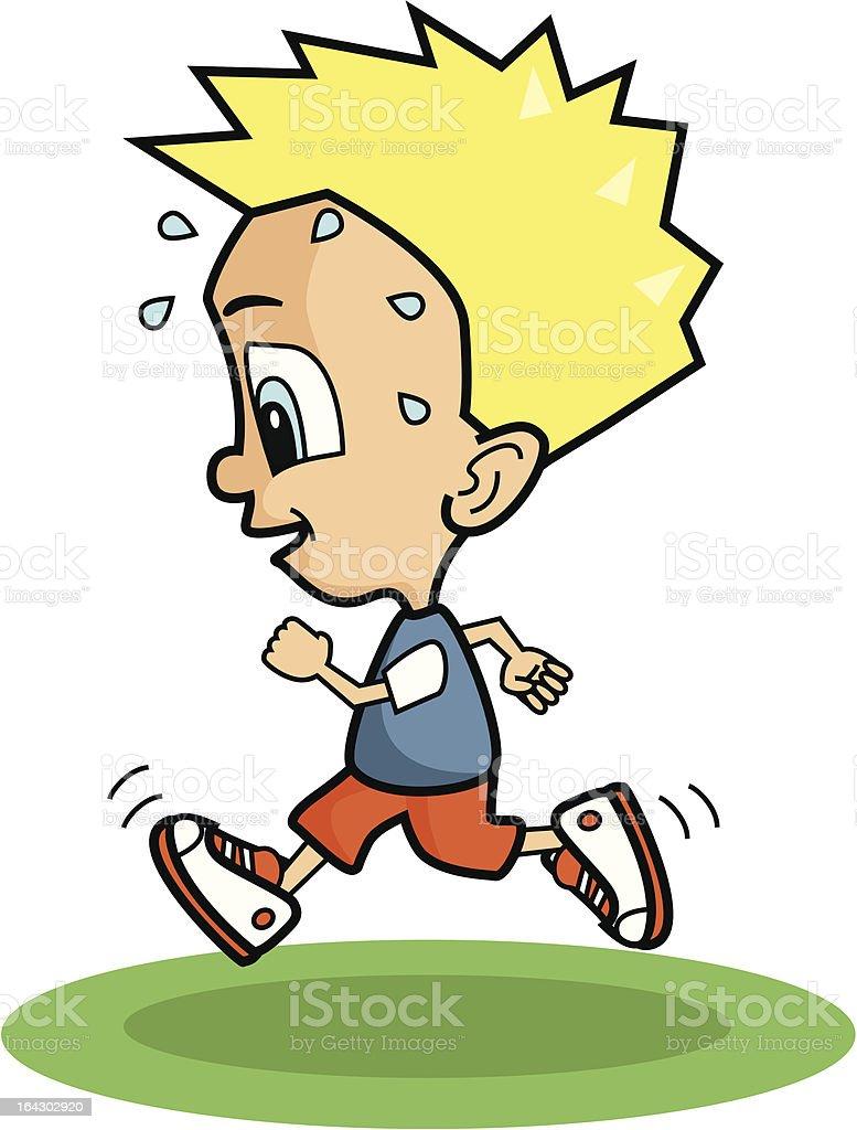 cartoon blonde boy running and sweating stock vector art 164302920