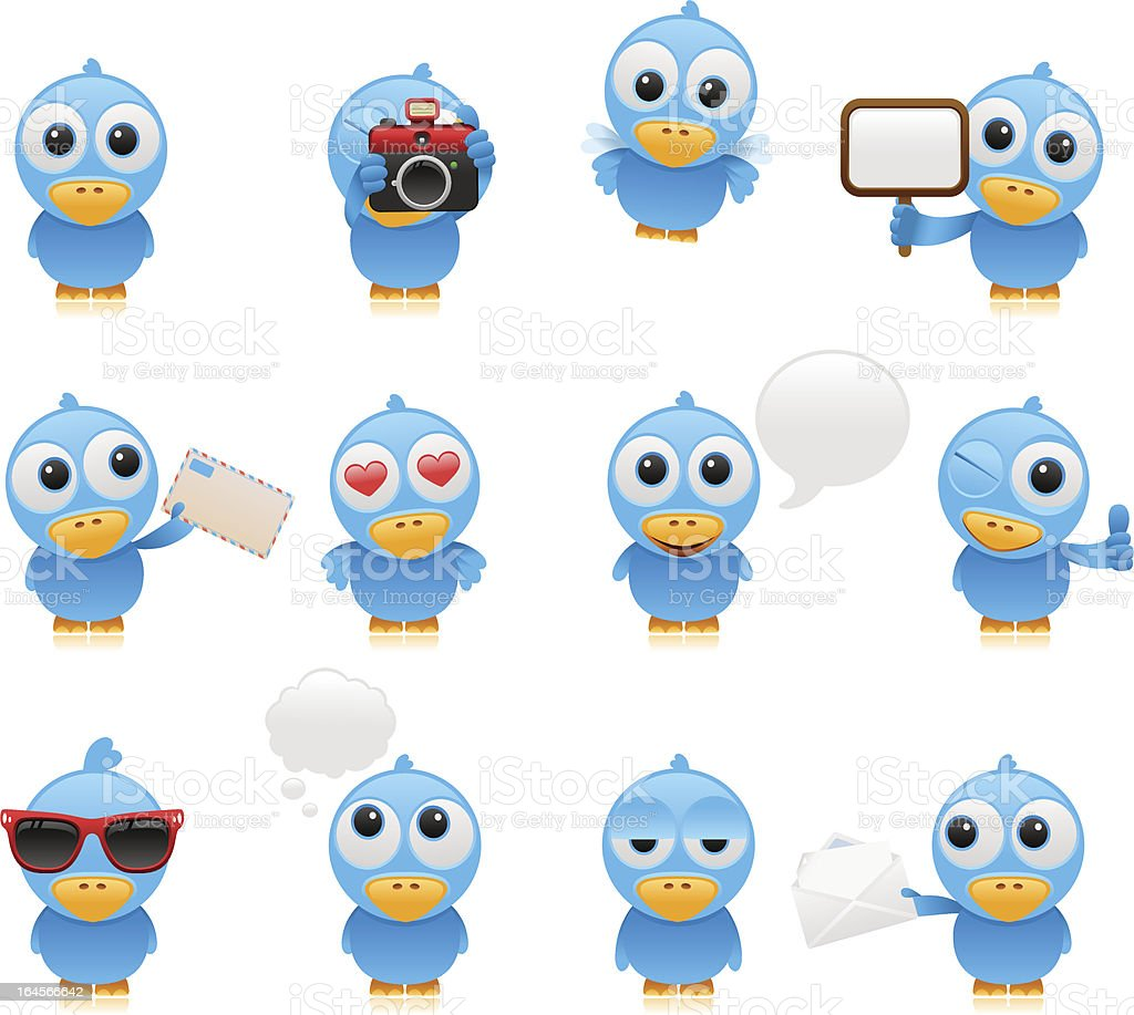 cartoon bluebird set vector art illustration