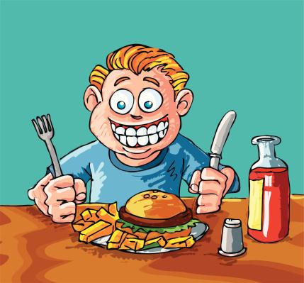 Cartoon boy eating a hamburger and fries