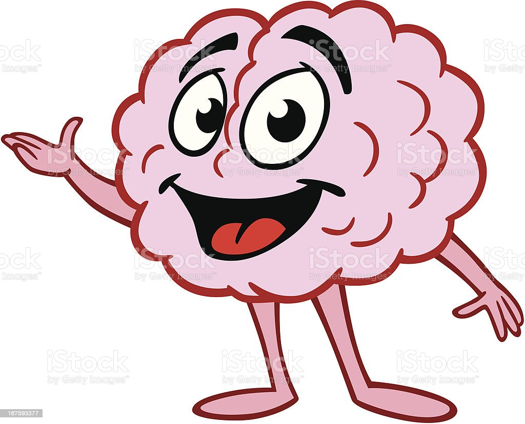 cartoon brain presenting stock vector art 167593377 istock