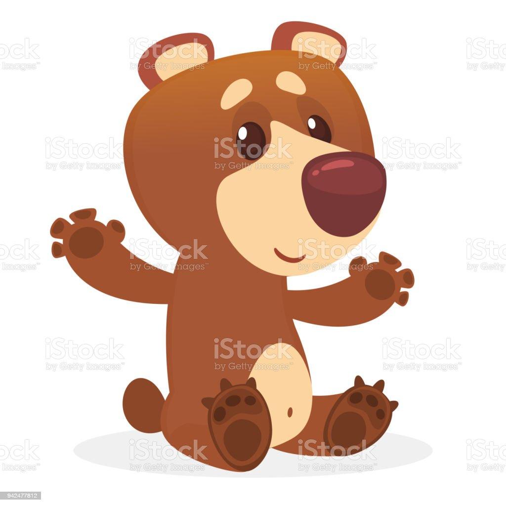 ilustração de desenhos animados urso marrom dando um abraço