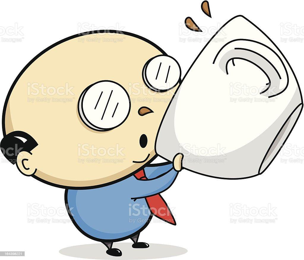Cartoon Businessman Drinking Coffee Stock Vector Art ...
