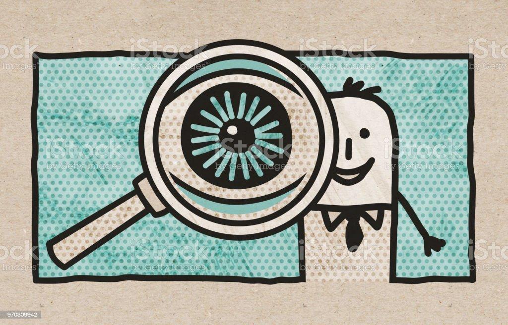 ilustração de empresário dos desenhos animados com olho grande em um