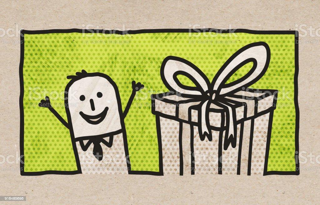 Cartoon Businessman With Gift
