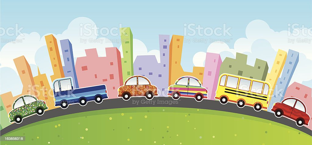 Cartoon Cars Cityscape Stock Vector Art & More Images of