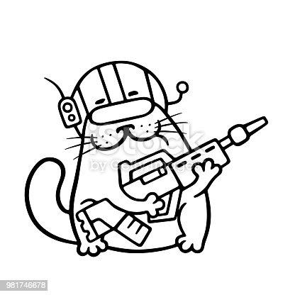 Ilustración de Marina De Espacio De Dibujos Animados Gato Con ...