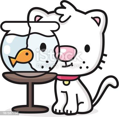 Cartoon Cat Watching Fish In The Aquarium Stock Vector Art ...