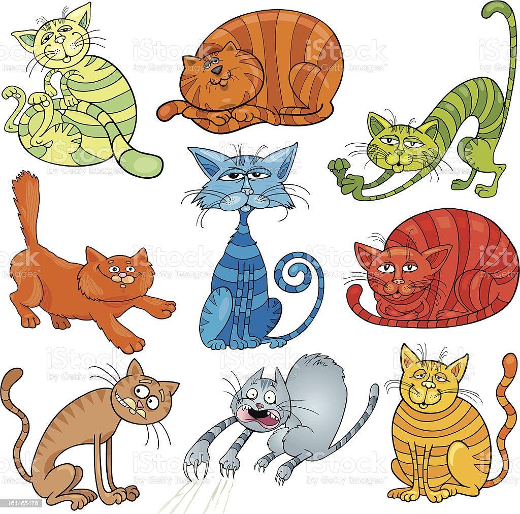 cartoon cats set vector art illustration