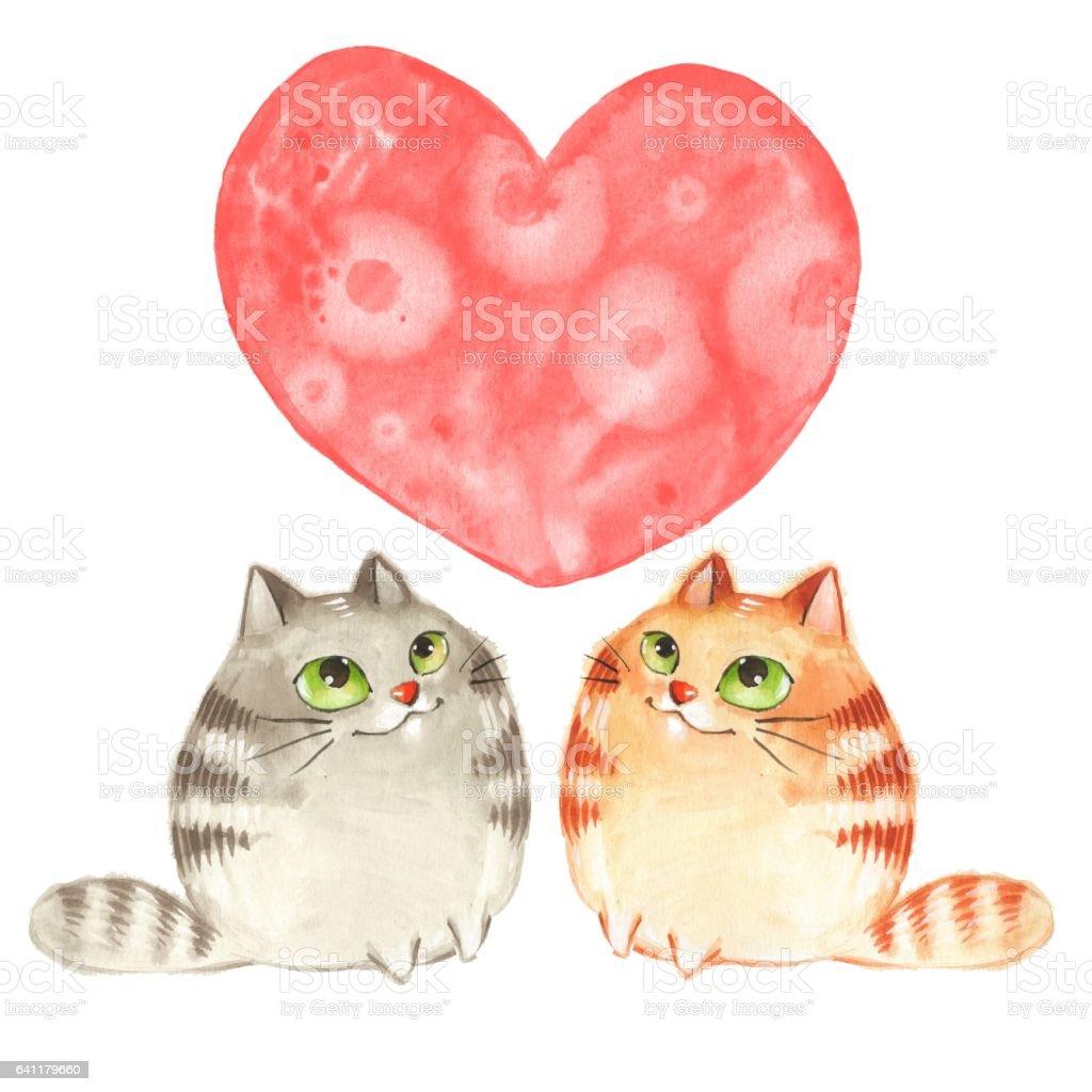 Ilustración De Dibujos Animados De Gatos Día De Los Enamorados