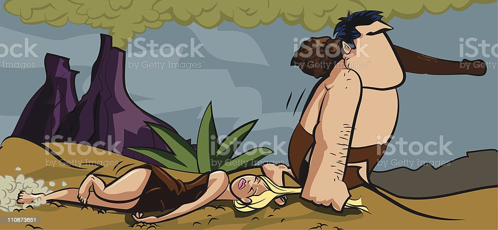 Cartoon caveman dragging a woman by her hair vector art illustration