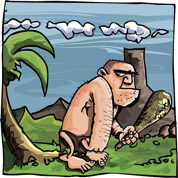 Prehistóricas caveman de historieta en ambiente - ilustración de arte vectorial