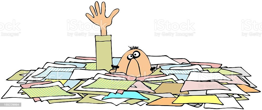 Cartoon character calling for help drowning in paperwork royalty-free stock vector art