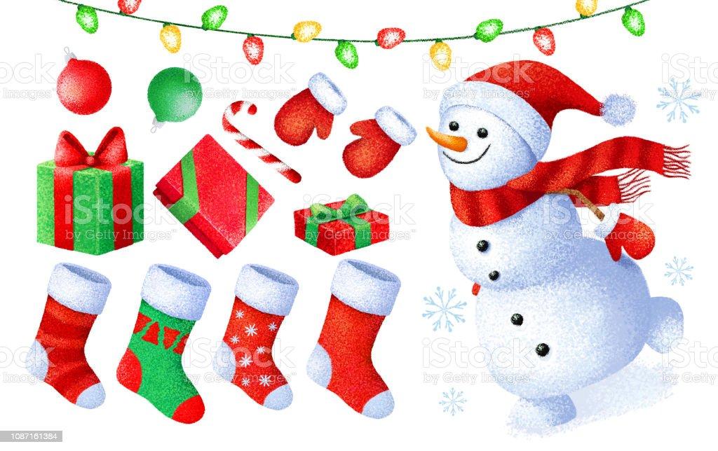 Vetores De Desenhos Animados Natal E Ano Novo Pintar Colecao