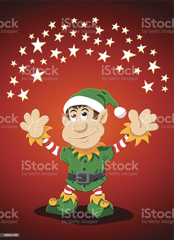 Cartoon Christmas Elf Arms Outstretched Stars royalty-free stock vector art