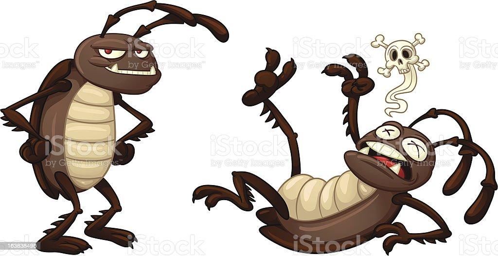 Cartoon cockroaches vector art illustration