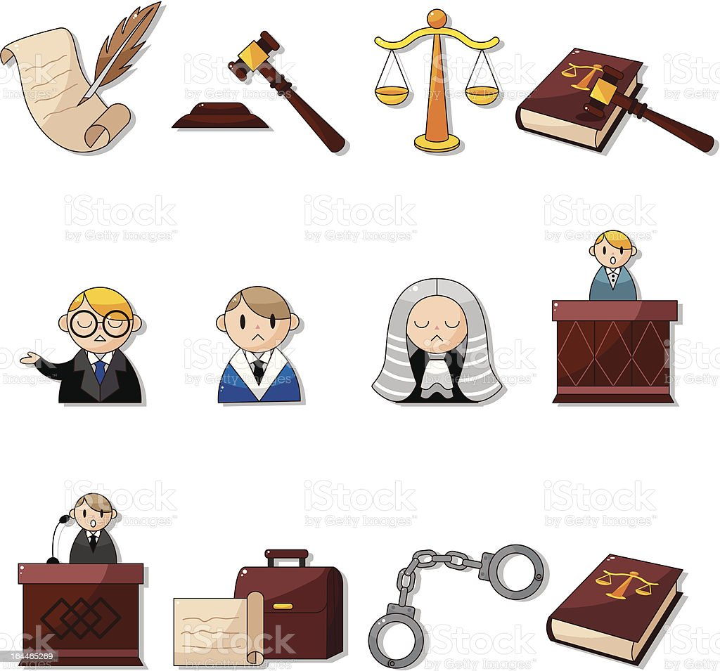 cartoon court element icons royalty-free stock vector art