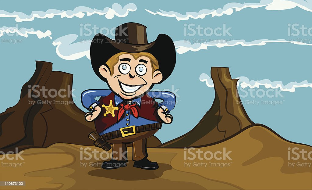 Cartoon cowboy in the desert royalty-free stock vector art