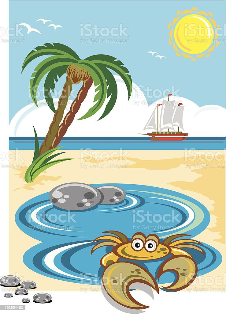 Cartoon crab in beach rock pool royalty-free cartoon crab in beach rock pool stock vector art & more images of beach