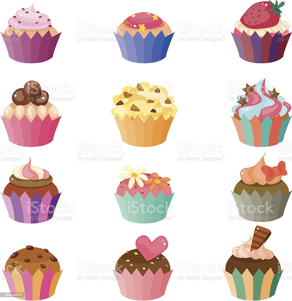 cartoon cup cake icons royalty-free stock vector art