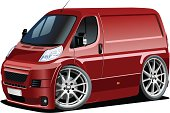 Vector cartoon delivery van. Available cdr-10 and ai-10 vector formats separated by groups for easy edit