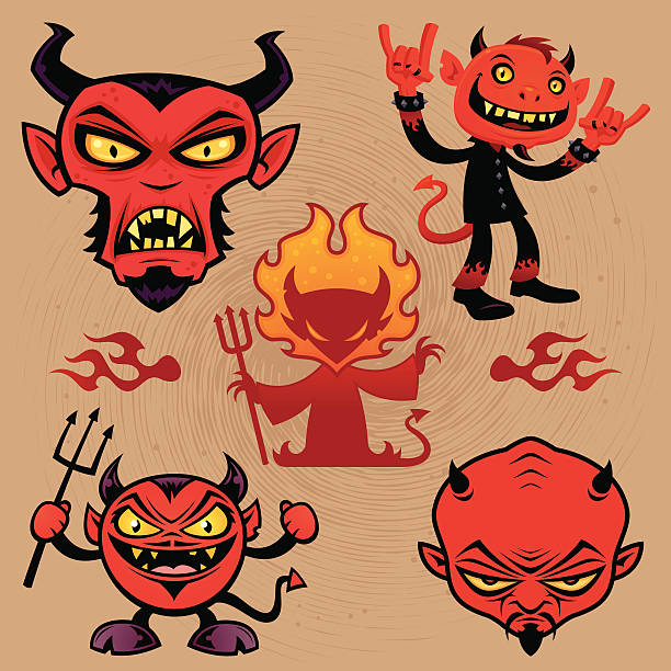 Cartoon Devil Collection vector art illustration