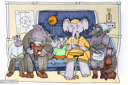 Cartoon drawing of passengers in the subway.The little elephant attracts the attention of his mother elephant, as well as other passengers of the Hippo and crocodile car.