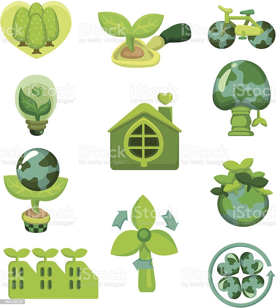 cartoon eco icons set royalty-free stock vector art