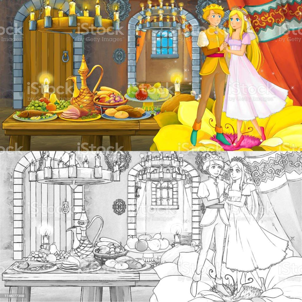 Karikatur Peri Masali Sahne Prens Ve Prenses Ile Boyama Sayfasi