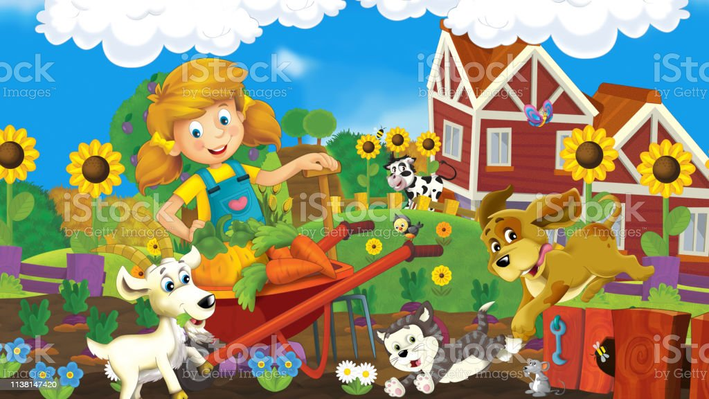 Cartoon farm scene with young farmer girl - happy animals -...