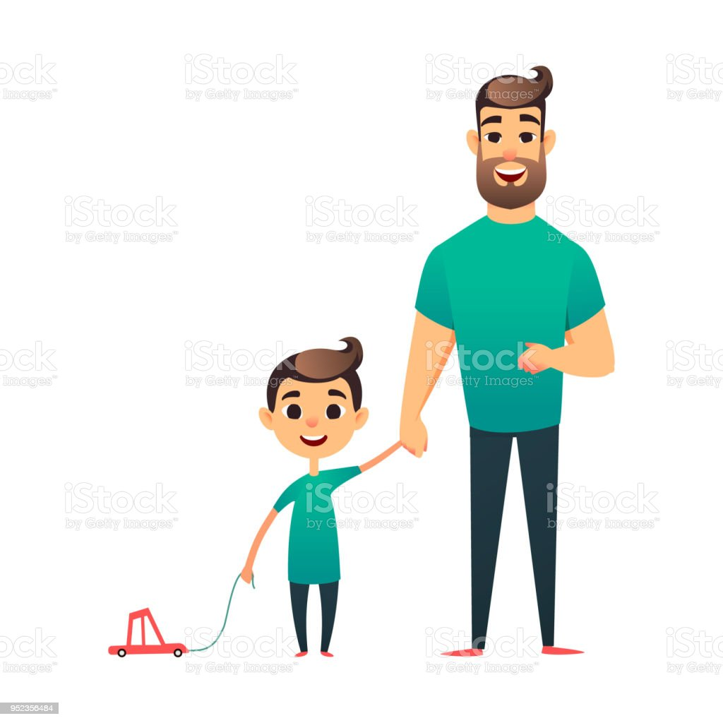 Cartoon Father And Son Man And Boy Happy Family Happy Father S Day