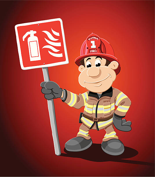 "Cartoon Firefighter Extinguisher Sign ""Vector Illustration of a firefighter, who is holding a fire extinguisher sign. The background is on a separate layer, so you can use the illustration on your own background. The colors in the .eps-file are ready for print (CMYK). Included files: EPS (v8) and Hi-Res JPG."" cartoon people sign stock illustrations"