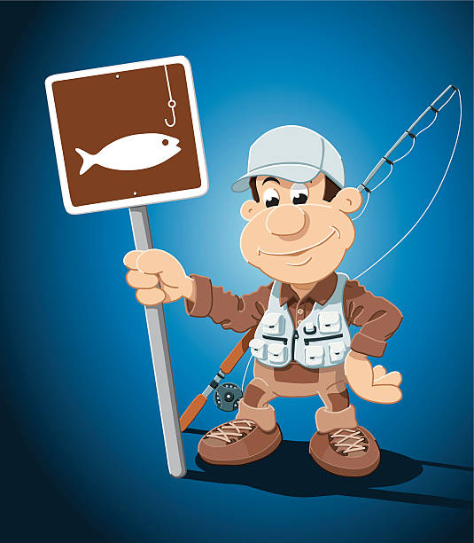 "Cartoon Fisherman Fishing Sign ""Vector Illustration of a Cartoon Fisherman, who is holding a traffic sign with a fishing symbol. The background is on a separate layer, so you can use the illustration on your own background. The colors in the .eps-file are ready for print (CMYK). Included files: EPS (v8) and Hi-Res JPG."" cartoon people sign stock illustrations"