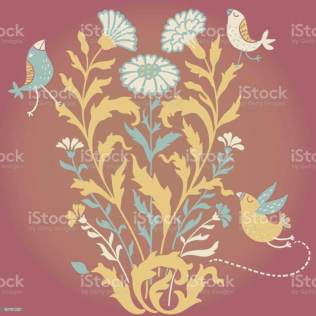 Cartoon floral background royalty-free stock vector art
