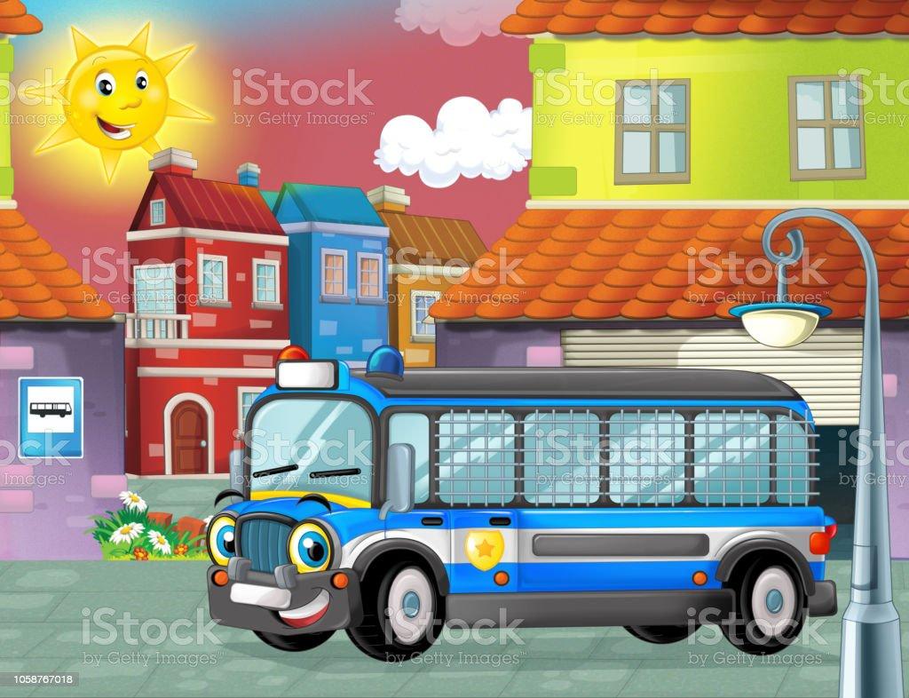 Cartoon Funny Looking Bus Parking Near The Garage Stock Vector Art