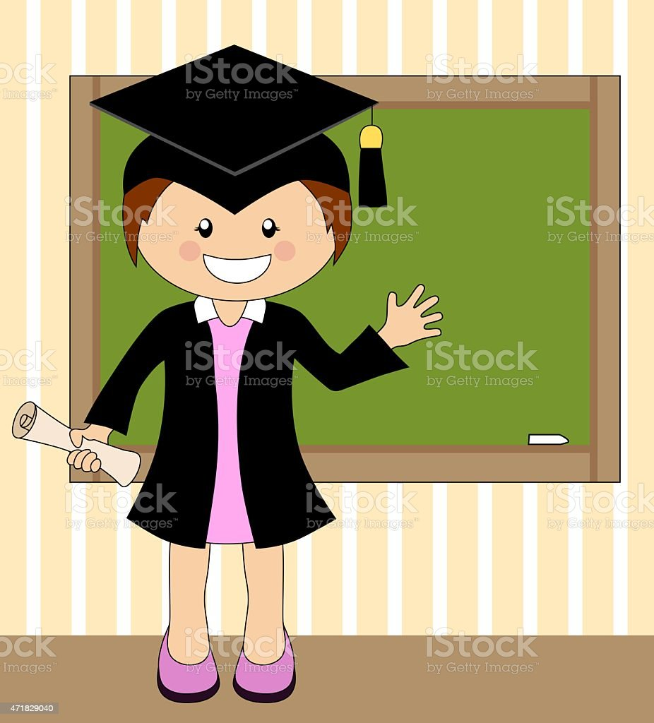 Cartoon Girl In Cap And Gown Graduate Stock Vector Art & More Images ...