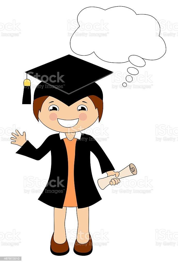 Cartoon Madchen In Cap Und Robe Absolventen Mit Sprechblase Stock