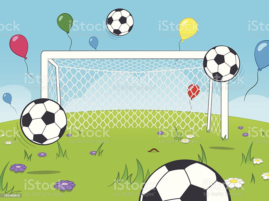 White cartoon goalposts standing in a meadow with colourful floating...