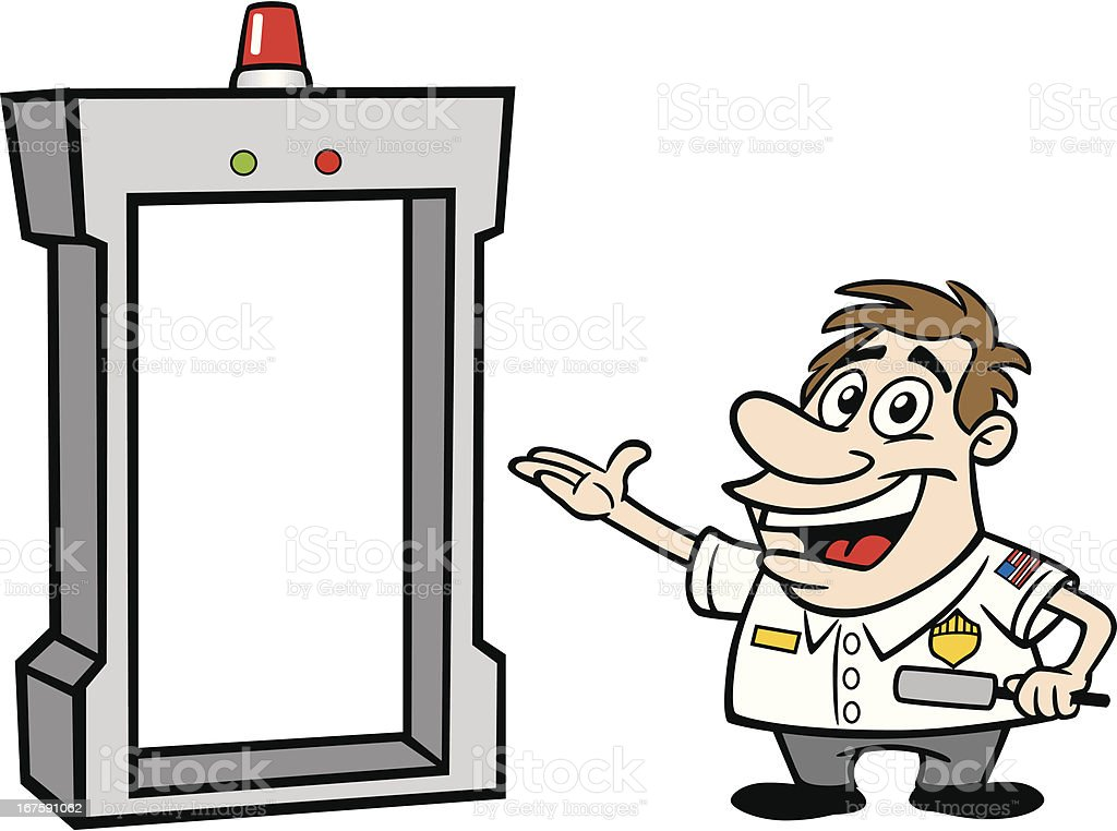Cartoon Guy As Airport Security vector art illustration