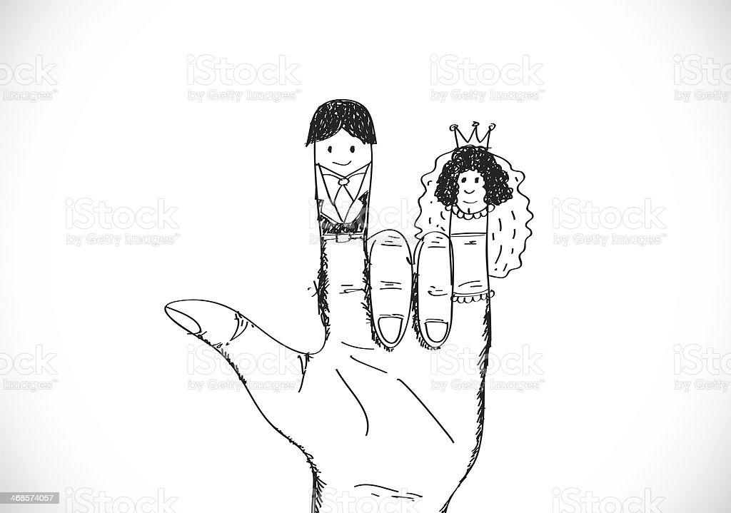 Couple De Mariage Dessinés à La Main En Dessin Animé