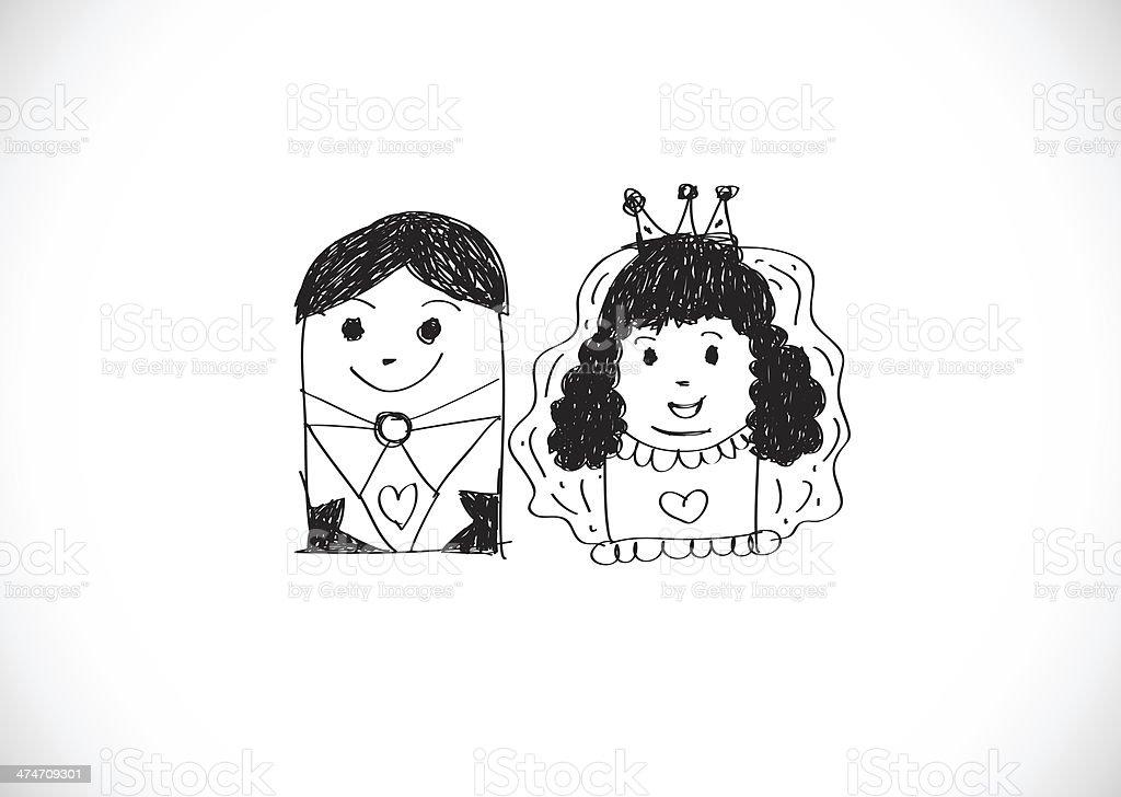 Ilustración De Dibujos Animados Dibujados A Mano Pareja De Novios Y