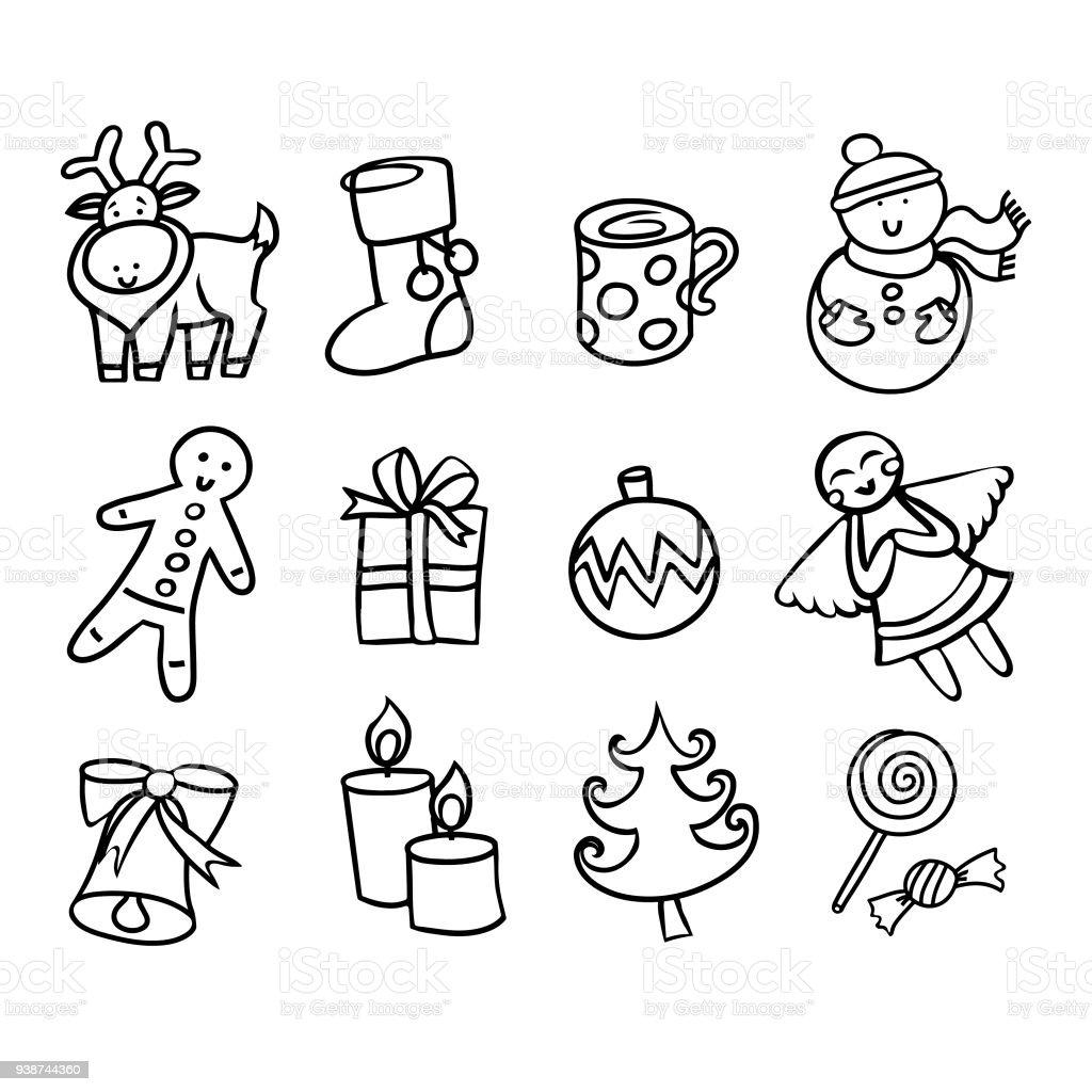 Ilustracion De Dibujos Animados Mano Dibujado Kit De Iconos De
