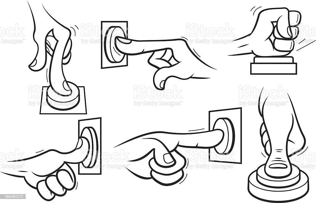 Cartoon hands pushing button. Outline. royalty-free stock vector art