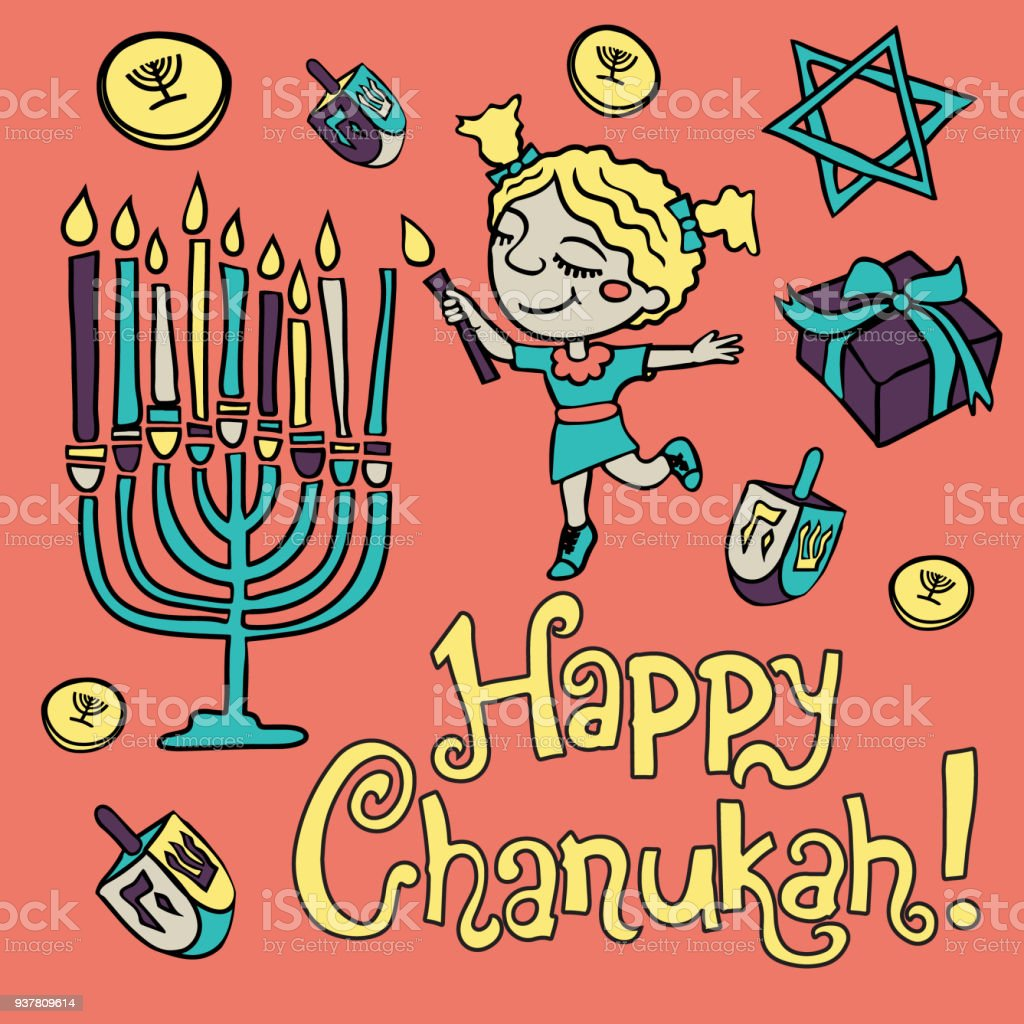 Cartoon Hanuka Greeting Card Happy Chanukah Stock Vector Art More
