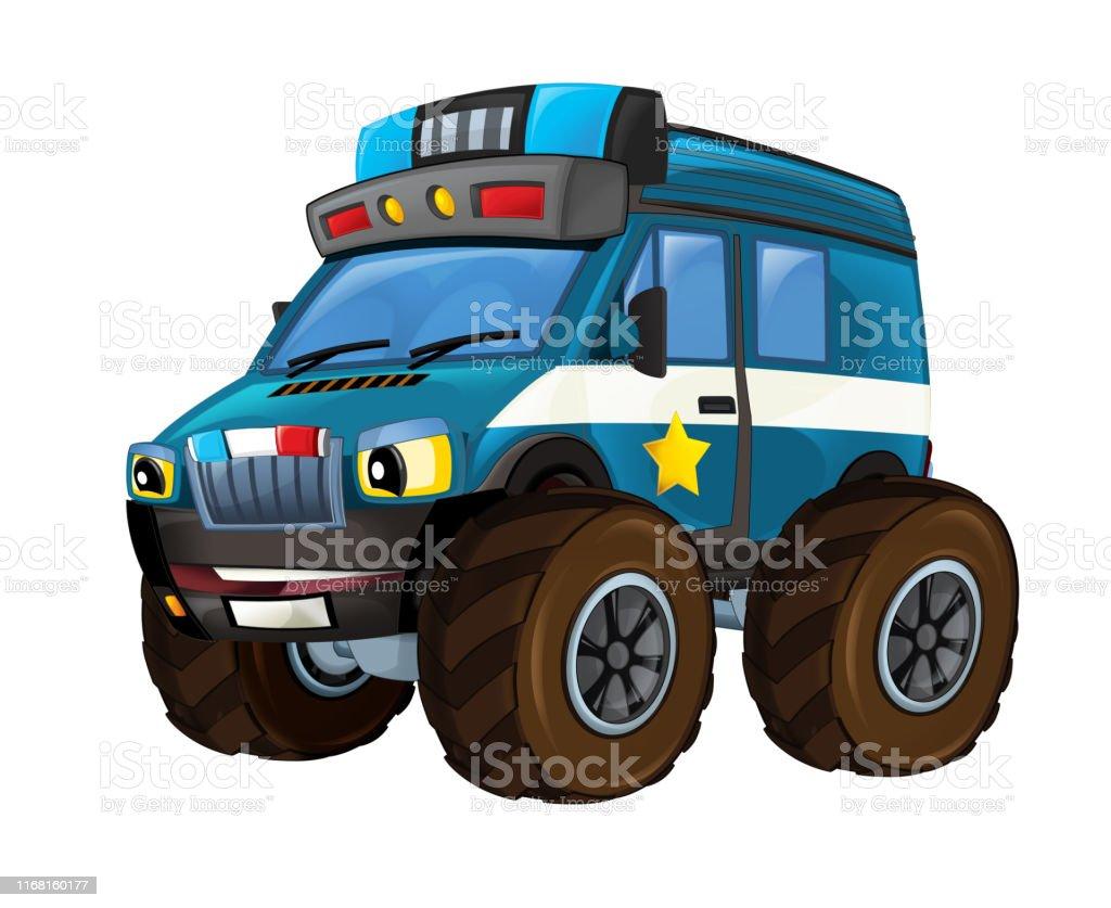Dessin Anime Heureux Et Drole Hors Route Voiture De Police
