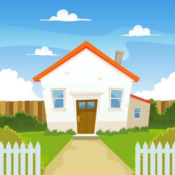 Cartoon House Inside Garden vector art illustration