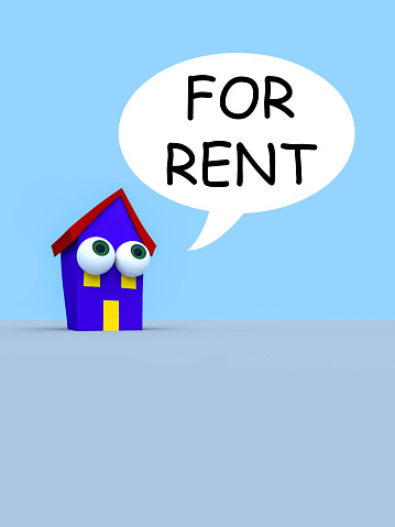 Cartoon House With Big Eyes And A Speech Bubble For Rent, 3d illustration