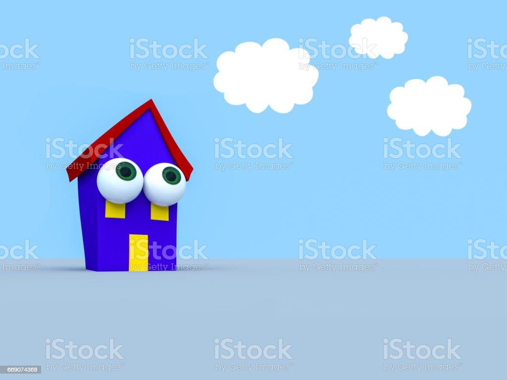 Ilustración de Casa Con Grandes Ojos Cielo Nublado 3d Ilustración De Dibujos  Animados y más Vectores Libres de Derechos de Agente inmobiliario - iStock