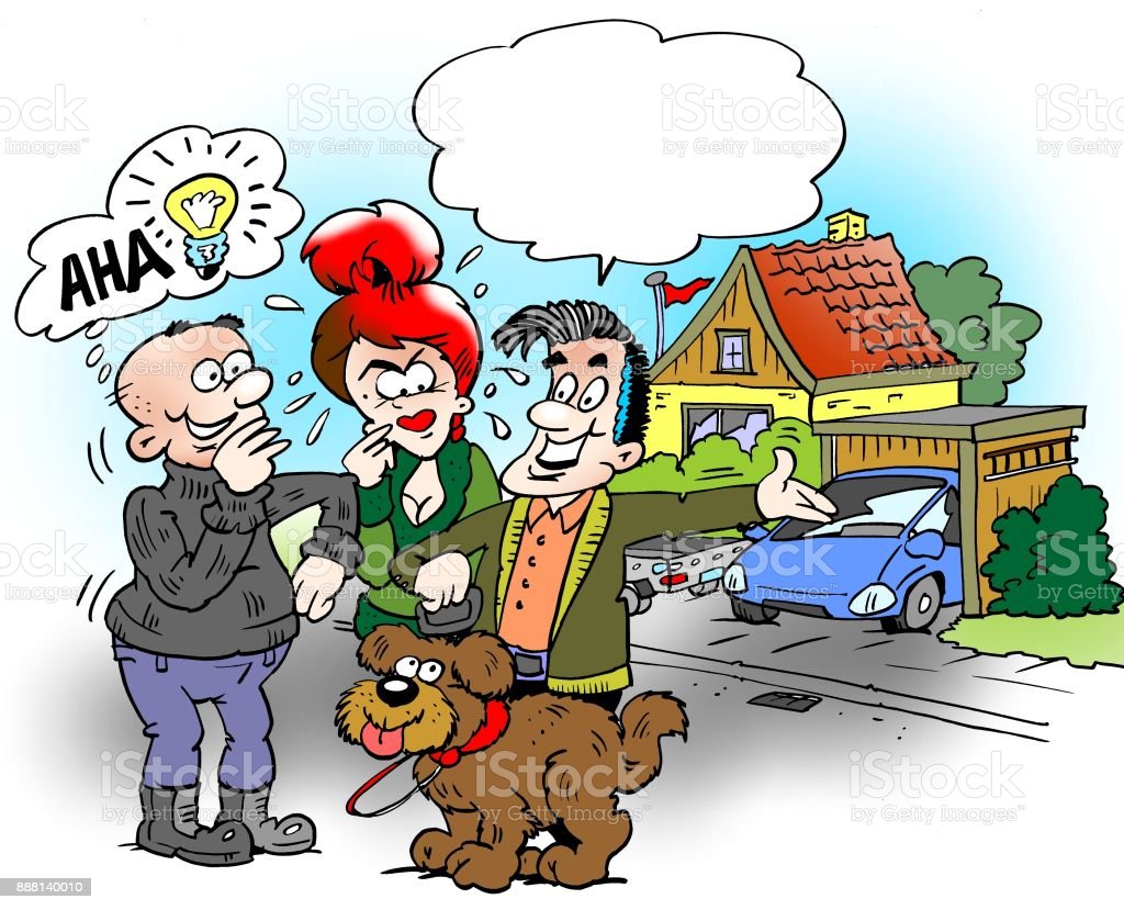 Cartoon illustration of a family who are out and walk the dog, the neighbor will have a good idea vector art illustration